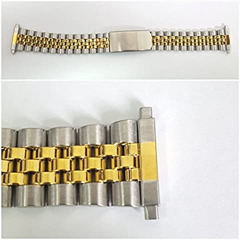 Stainless Steel Two Tone Metal Gents watch Bracelet adjustable 18mm to 20mm