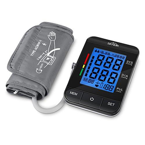 SIMBR Oberarm-Blutdruckmessgerät Vollautomatisch mit Hintergrundbeleuchtung 180 Speicherplätze für Zwei Benutzer Höher Genäuigkeit