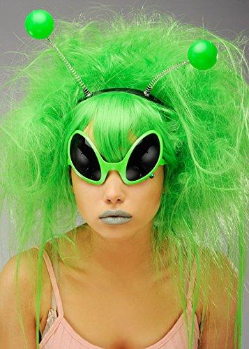 Deluxe grün Alien Girl Perücke mit ()