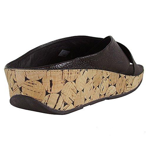 FitFlop™ KYS Sandali delle Donne Pelle Slide in Bianco Nero e Urbano 090 All Black