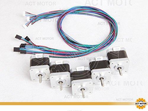 ACT Motor GmbH 5PCS Nema17 Schrittmotor 17HS5425L20P1-X2 2.5A D-flat shaft 48mm 4800g.cm inkl. Kabel mit Connector (Flat Motor)