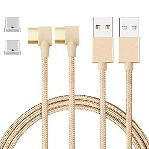 First2savvv 2 X 2.4A Magnétique Type-C USB 3.0 Charge rapide et câble de synchronisation de données pour Smartphone et tablette Samsung Galaxy S8 / S8 Plus, Huawei Mate 9 10, LG G5 / G6, Nokia 950 / 950XL etc. de USB-C.CT-TYPEC-X2-90D-15
