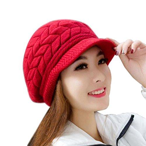 Vovotrade ❀❀Mode Femme Bonnets d'hiver Chapeaux en Tricot Chapeau en Peau de Lapin Pastèque rouge