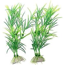 Verde Plástico 17cm Hierba Acuario Pecera Plantas Decoración ...
