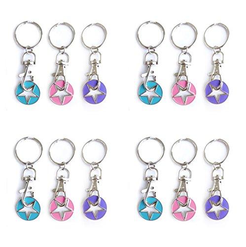 STERN Schlüsselanhänger (12 Stück) Trendy Dekor für Geschenke - Handtaschen, Taschen, Schlüsselbund | Türkis, Pink & Lila - handlackiert