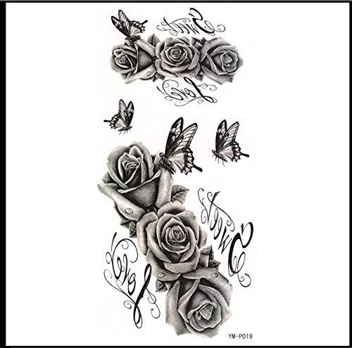 ruofengpuzi Graustufen Rose Tattoo Aufkleber Wasserdicht Weiblich Dauerhafte Sexy Concealer Klebrigen Kaiserschnitt Verletzungen Tattoo Aufkleber
