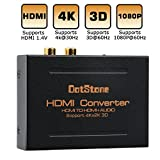 Extracteur HDMI Audio 4k/30hz Convertisseur HDMI vers HDMI + Fibre Optique Audio TOSLINK SPDIF + RCA L/ R Stéréo Audio Splitter Transformateur de Courant Adaptateur 4K x 2K 1080P 3D par DotStoneique RCA L/ R Stéréo Audio Splitter Transformateur de Courant Adaptateur 4K@30Hz 1080P Plein HD 3D par DotStone