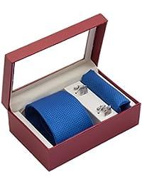 Vibhavari Men's Black Sleek Tie, Pocket Square and Cufflink Set
