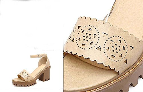 Onfly Donne Peep Toe Tacchi alti Sandali Fibbia della cintura Cinghie di caviglia piattaforma Chunky Tacchi Sandali Dimensioni 32-43 Black
