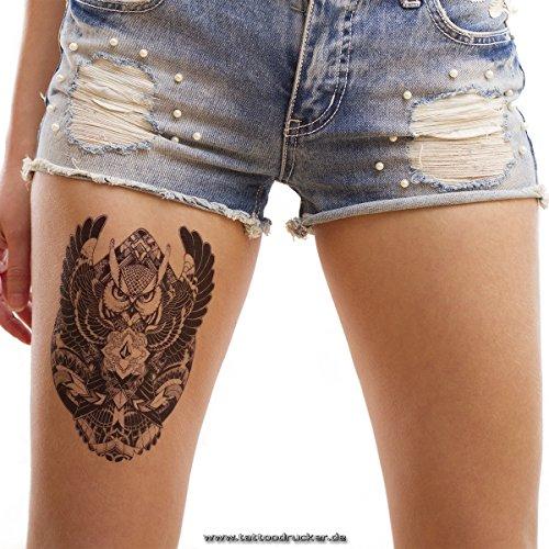 1 x Eule Arm Tattoo- Geometrisches Schwarzes Temporäres einmal XL Tattoo - HB398 (1)