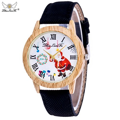 Weihnachtsuhren,Moonuy Mode & Casual Weihnachtsmann Uhren Ältere Muster Holzmaserung Denim Band Analog Quarz Vogue Uhren in 9 Farben (A)