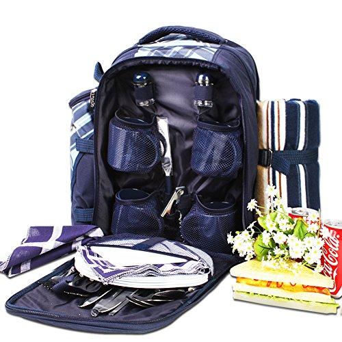 Apollowalker Picknick-Rucksack für 4 Personen mit Besteck Set für Picknick, Outdoor, Sport, Wandern, Camping, BBQs und als Kühler, blau