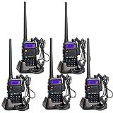 Retevis RT5R Funkgeräte UHF/VHF Funkgerät Dualband 128 Kanäle Handfunkgerät mit Headset FM Radio LCD Display CTCSS DCS Walkie Talkie (5 Stk, Schwarz)