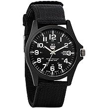 Avaner Grande Reloj de Hombre Militar Deportivo Reloj de Pulsera Verde, Correa de Nylon Reloj de Piloto Con Calendario Para Chicos, Diseño Original Regalo de Navidad