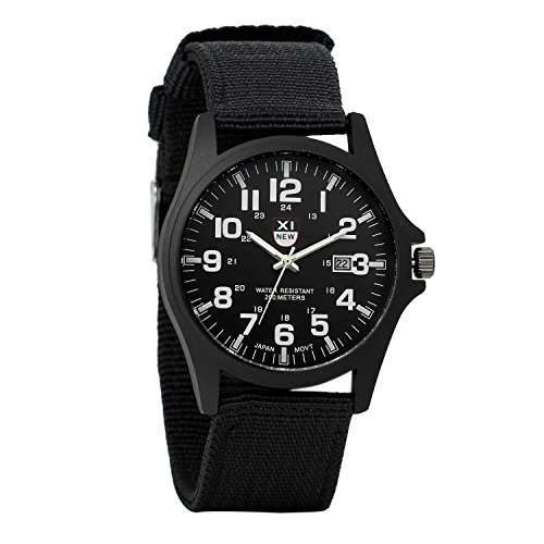 Reloj Militar para Hombre Movimiento de cuarzo analógico con pulsera de nylon Calendario negro Reloj...
