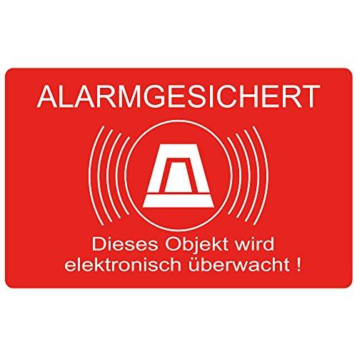 """9 Stück \""""Alarmgesichert - Dieses Objekt wird elektronisch überwacht\"""" 80x50 mm, selbstklebend, kratz und Wetterfest"""