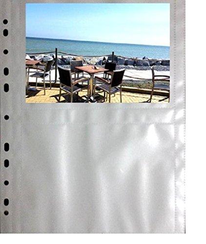 fotohuellen 13x18 100 x A4 Fotohüllen, Sammelhüllen mit weißer Mittelfolie, 4 Taschen à 13x18 cm