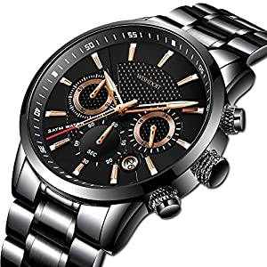 WISHDOIT Mens Watches Casual Sports Chronograph Analog Quartz Watch Men Black Stainless Steel Waterproof Wrist Watch