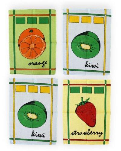Betz. Set di 4 asciugamani. Asciugamani stampati per i piatti Kiwi, misura 50 x 70cm, cotone