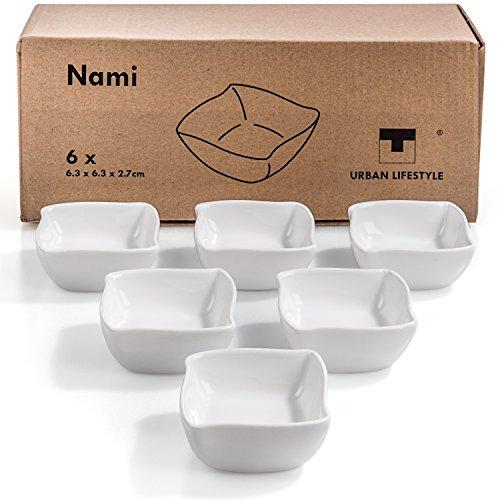Urban Lifestyle 6 x Saucenschälchen/Dipschale Nami aus Porzellan (6,3 x 6,3 x 2,7cm)
