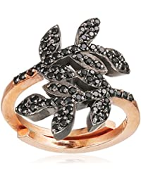 Maha Lozi con plata esterlina 18ct Rose chapado en oro - D Tamaño pequeño anillo Ivy
