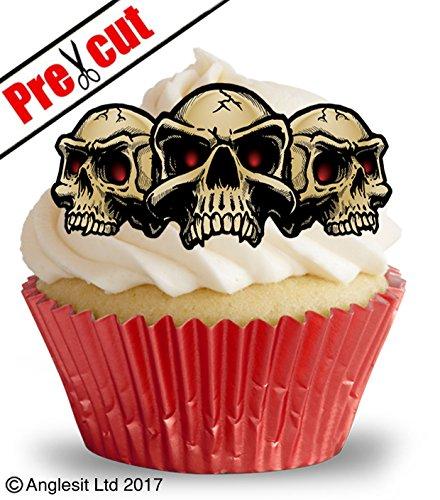 vorgeschnittenen Scary Skulls essbarem Reispapier/Waffel Papier Cupcake Kuchen Topper Halloween Gothic Party Dekorationen