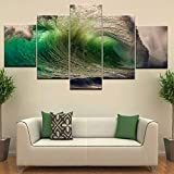 AMOHart Canvas prints Wall art 5 Pieces Surge Rolling Green Sea Waves Seascape Hd Poster home Art Decor Paintings kitchen Canvas Paintings Framed