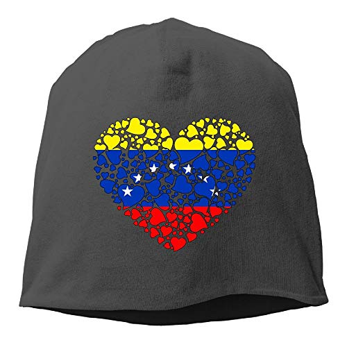 DHNKW Love Flag of Venezuela Unisex,Women/Men Wool Hat Soft Stretch Beanies Skull Cap Christmas, Black -