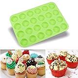 Silikonform, BZLine® 24 Cavity Mini-Muffin-Silikon-Soap-Plätzchen-Kuchen Behälter-Form (Grün)