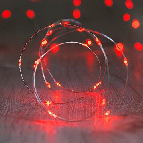 Draht Micro Lichterkette, rot, Batteriebetrieb ()