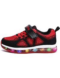 Mr.Ang LED Zapatillas de 7 Colores de Luces con USB de Carga Transpirables para Los Niños y Los Adolescentes