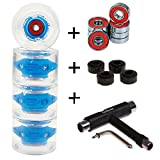 4 Stück LED FunTomia® Longboard/Skateboard Rollen (Big Wheels) in 70x51mm 80A inkl. Mach1® Kugellager (4 Stück blaue LED Rollen + 1x T-Tool)