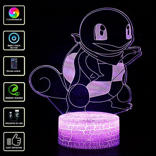 3D Lámpara de Escritorio NHSUNRAY 7 colores LED Touch lámpara de mesa con control remoto para niños cumpleaños regalo de San Valentín de Navidad (Squirtle)