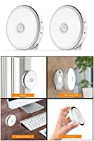 JIEMEI Motion Sensor Light, 2 Pack 6 LED Rechargeable Night Light with Magnet, Cordless Wall Lights Step Lights for Hallway, Closet, Stairs, Bedroom, Nursery ( White, 2 Pack)