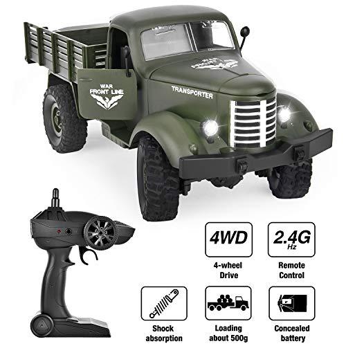 GotechoD Ferngesteuertes Auto mit Fernbedienung, RC Militär Truck 2.4Ghz 1/16 4WD als Geschenke für Kinder Jungen Erwachsene