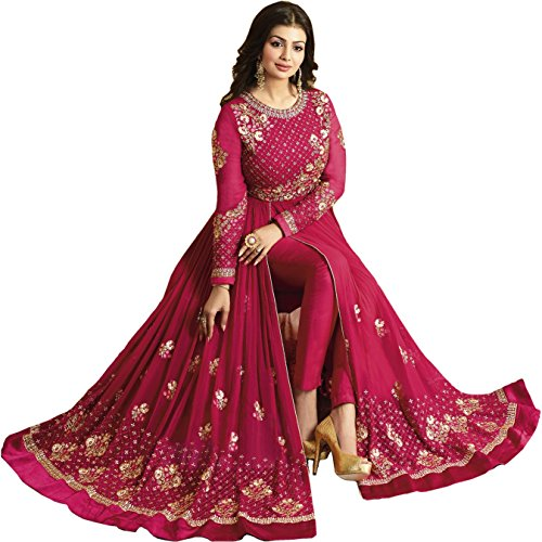 Glamify Women\'s Georgette Semi-Stitched Anarkali Suit (Pink_Free_Size)