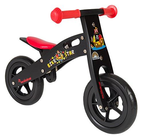 Preisvergleich Produktbild BIKESTAR® Premium Kinderlaufrad für kleine Abenteurer ab 2 Jahren  10er Natur Holz Edition  Teuflisch Schwarzes Piraten Design