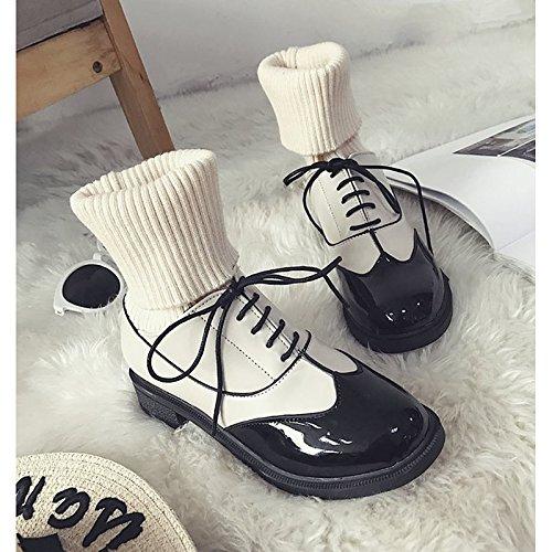 Weiße Leder Western Cowboy Stiefel (HSXZ Damenschuhe PU Winter Komfort Cowboy/Western Stiefel Absatz Round toe booties/Stiefeletten für Casual Schwarz Weiß, Weiß, EU/US7.5 38/UK5.5/CN 38)