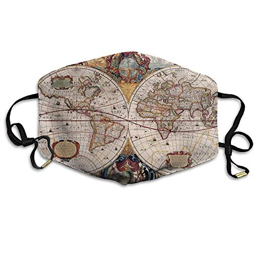 ßenmaske Old World Map Cartography Geography Printed Mouth Masks Unisex Anti-dust Masks Reusable Face Mask Soft and Breathable for Men Women Fashion Anime Black Nose Disposable ra ()