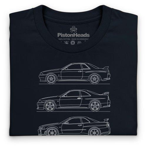PistonHeads Skyline Generations T-Shirt, Herren Schwarz