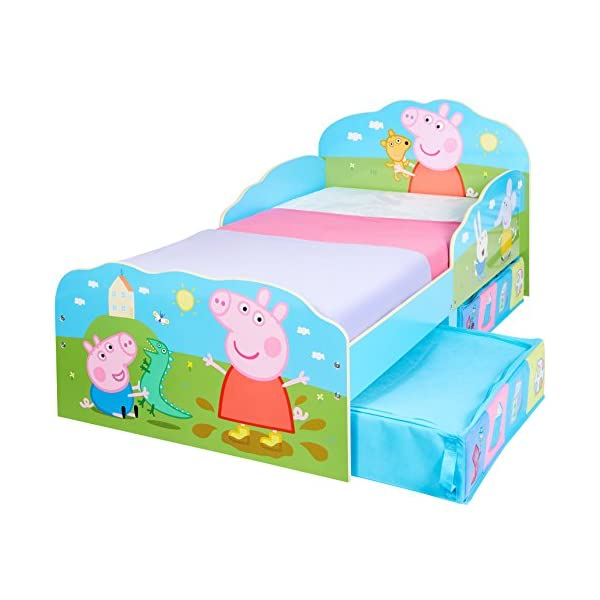 HelloHome Peppa Pig Toddler Bed with Underbed Storage, Wood, Multi, 142 x 77 x 63 cm  Perfect for transitioning your little one from cot to first big bed The perfect size for toddlers, low to the ground with protective side guards to keep your little one safe and snug Two handy underbed, fabric storage drawers 5
