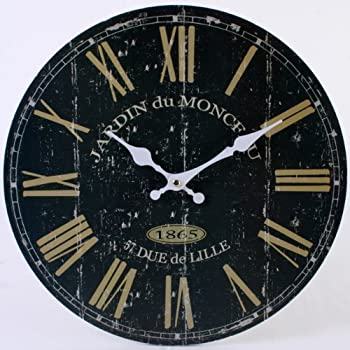 Large Black France Wall Clock Vintage Antique Retro Rustic Style Look