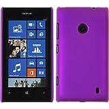 PhoneNatic Case für Nokia Lumia 520 Hülle lila gummiert Hard-case + 2 Schutzfolien