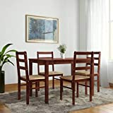 Woodness Winston Solid Wood Upholstered 4 Seater Basic Dining Table Set (Wenge)