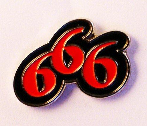 Mainly Metal Metall Emaille-Schwarz Brosche Biker Rebel 666Devil Anzahl -