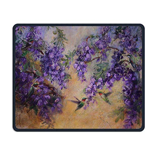 Deglogse Gaming-Mauspad-Matte, Smooth Mouse Pad Purple Flowers and Hummingbird Mobile Gaming Mousepad Work Mouse Pad Office Pad -