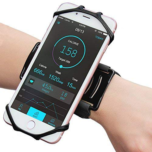 Bovon Universal Sportarmband für 4.0-6.2 Zoll Smartphones, 180° Drehbar Handgelenk Sport Handytasche  (Schwarz)