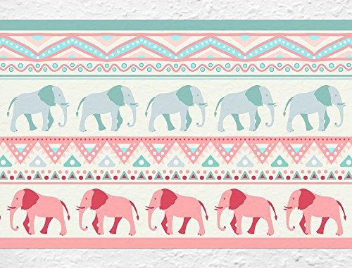 I-love-Wandtattoo b-10035 Kinderzimmer Bordüre 'Elefanten' Afrika Safari Muster Tapete Kinder