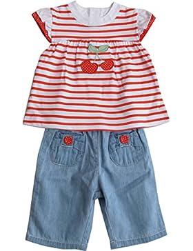 Schnizler Mädchen Bekleidungsset Rote Kirschen mit Tunika und Jeans Bermuda