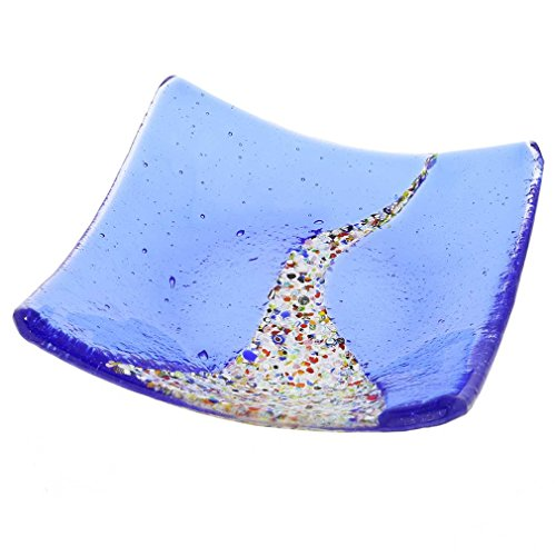 Glassofvenice Verre de Murano Klimt carré Assiette décorative - Bleu
